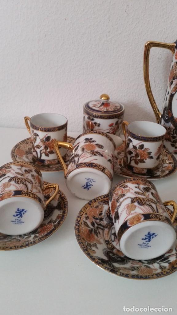 Antigüedades: EXPLENDIDO SERVICIO DE CAFE PORCELANA SA JI FINE CHINA JAPAN ,HECO Y PINTADO A MANO - Foto 4 - 242144345