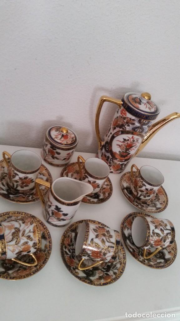 Antigüedades: EXPLENDIDO SERVICIO DE CAFE PORCELANA SA JI FINE CHINA JAPAN ,HECO Y PINTADO A MANO - Foto 5 - 242144345