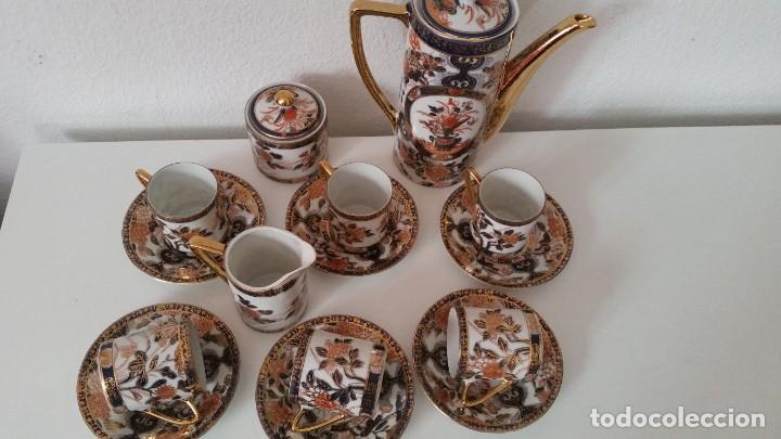 Antigüedades: EXPLENDIDO SERVICIO DE CAFE PORCELANA SA JI FINE CHINA JAPAN ,HECO Y PINTADO A MANO - Foto 6 - 242144345