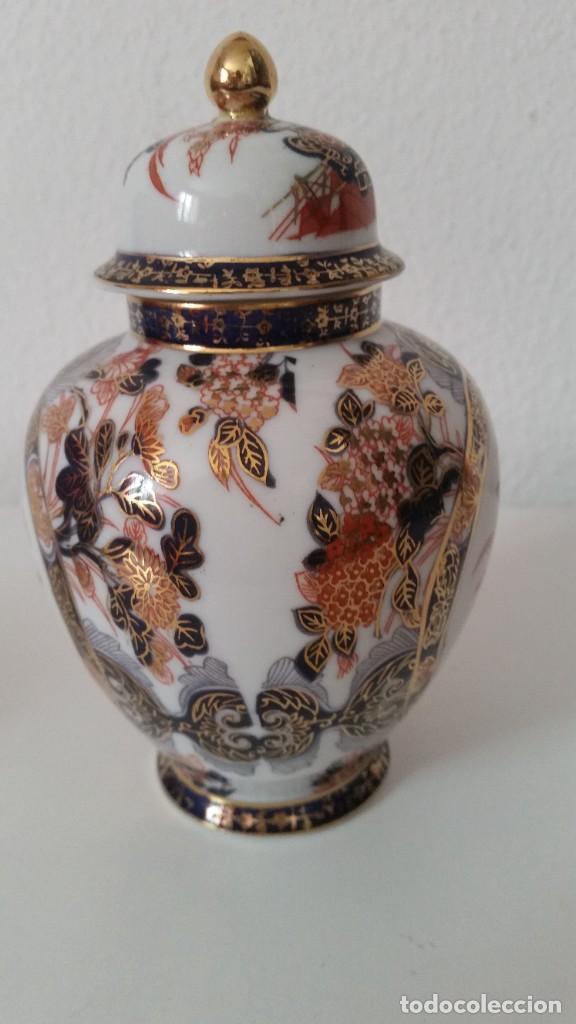 Antigüedades: PRECIOSO POTE PORCELANA SA JI FINE CHINA JAPANHECHA Y PINTADA A MANO - Foto 3 - 242146305