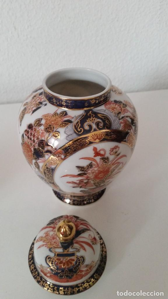 Antigüedades: PRECIOSO POTE PORCELANA SA JI FINE CHINA JAPANHECHA Y PINTADA A MANO - Foto 4 - 242146305