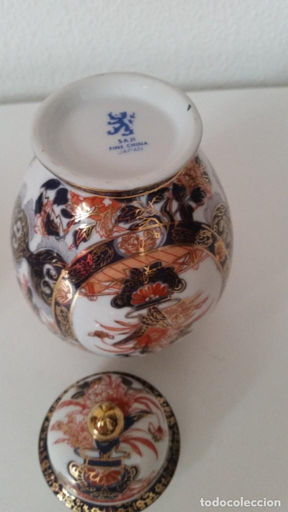 Antigüedades: PRECIOSO POTE PORCELANA SA JI FINE CHINA JAPANHECHA Y PINTADA A MANO - Foto 5 - 242146305