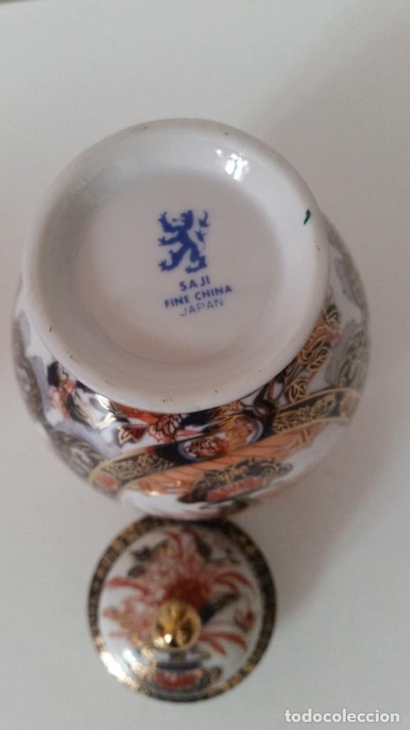 Antigüedades: PRECIOSO POTE PORCELANA SA JI FINE CHINA JAPANHECHA Y PINTADA A MANO - Foto 6 - 242146305