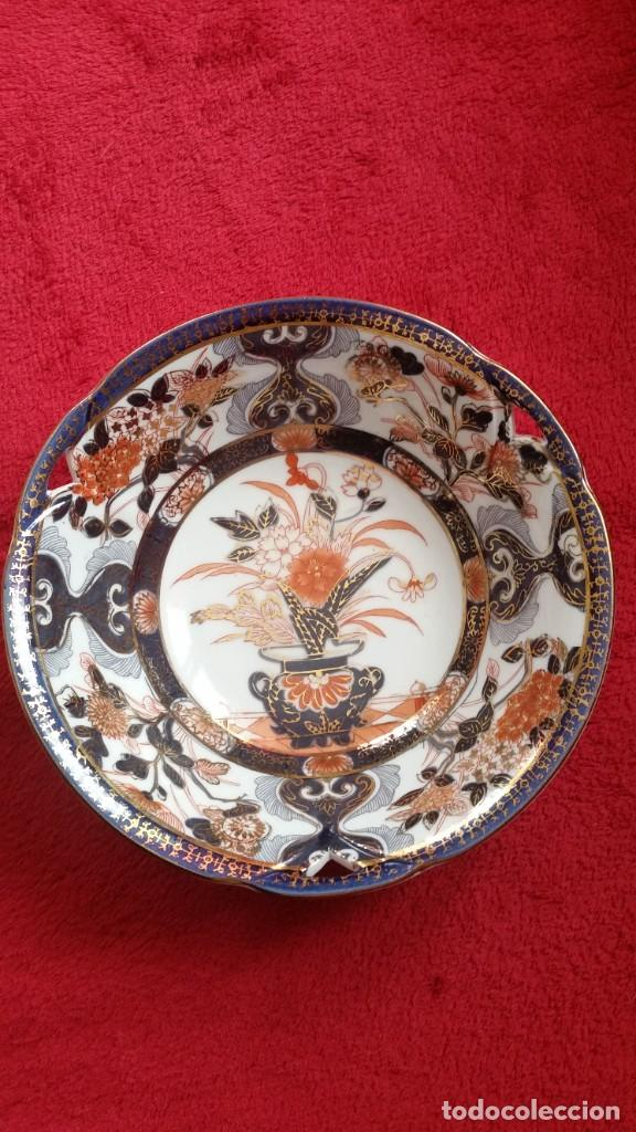 Antigüedades: MAGNIFICA FUENTE O CENTRO DE MESA PORCELANA SA JI FINE CHINA JAPAN PORCELANA PINTADA A MANO - Foto 3 - 242147860