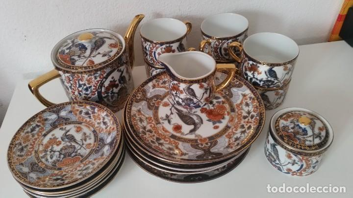 PRECIOCO SERVISO DE TE AU CAFE PORCELANA SA JI FINE CHINA JAPAN PORCELANA PINTADA A MANO (Antigüedades - Porcelana y Cerámica - Japón)
