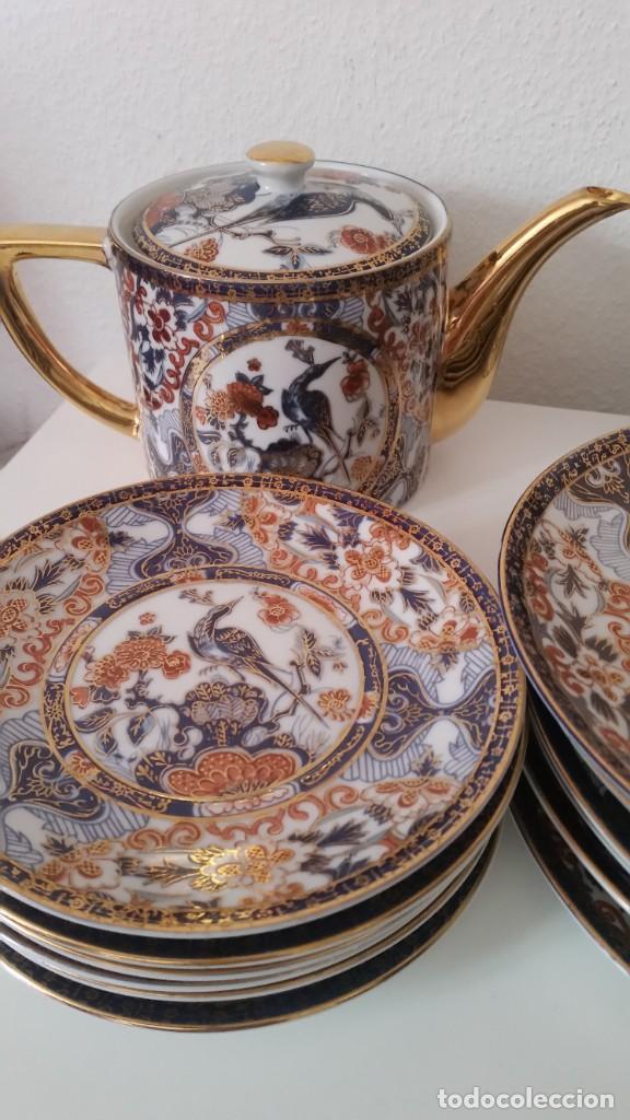 Antigüedades: PRECIOCO SERVISO DE TE AU CAFE PORCELANA SA JI FINE CHINA JAPAN PORCELANA PINTADA A MANO - Foto 5 - 242151115