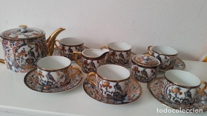 Antigüedades: PRECIOCO SERVISO DE TE AU CAFE PORCELANA SA JI FINE CHINA JAPAN PORCELANA PINTADA A MANO - Foto 13 - 242151115