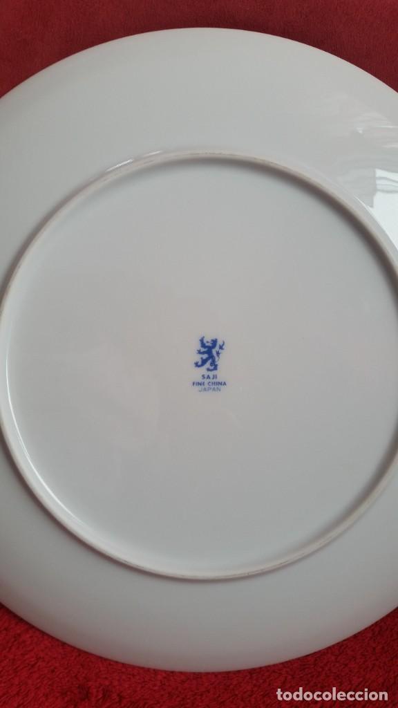 Antigüedades: PRECIOCO Y GRANDE PLATO DE PASTEL PORCELANA SA JI FINE CHINA JAPAN PORCELANA PINTADA A MANO - Foto 5 - 242152875