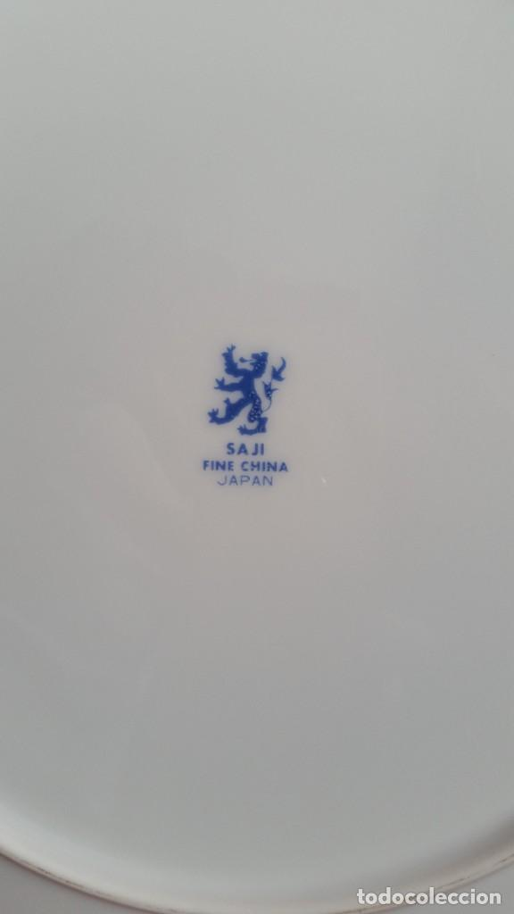 Antigüedades: PRECIOCO Y GRANDE PLATO DE PASTEL PORCELANA SA JI FINE CHINA JAPAN PORCELANA PINTADA A MANO - Foto 6 - 242152875