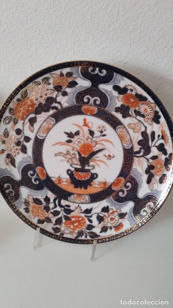 PRECIOCO Y GRANDE PLATO DE PASTEL PORCELANA SA JI FINE CHINA JAPAN PORCELANA PINTADA A MANO (Antigüedades - Porcelana y Cerámica - Japón)