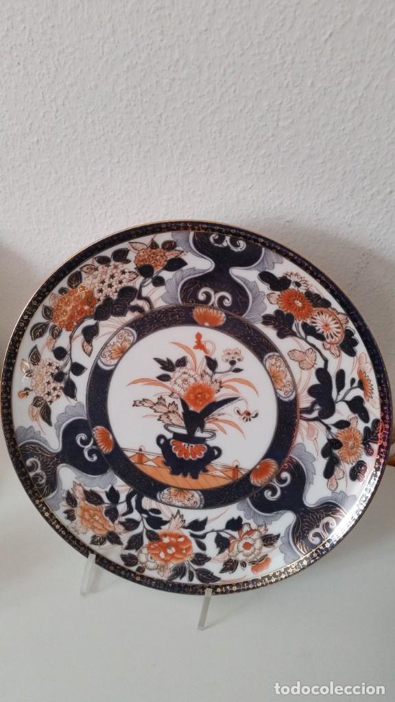 Antigüedades: PRECIOCO Y GRANDE PLATO DE PASTEL PORCELANA SA JI FINE CHINA JAPAN PORCELANA PINTADA A MANO - Foto 7 - 242152875