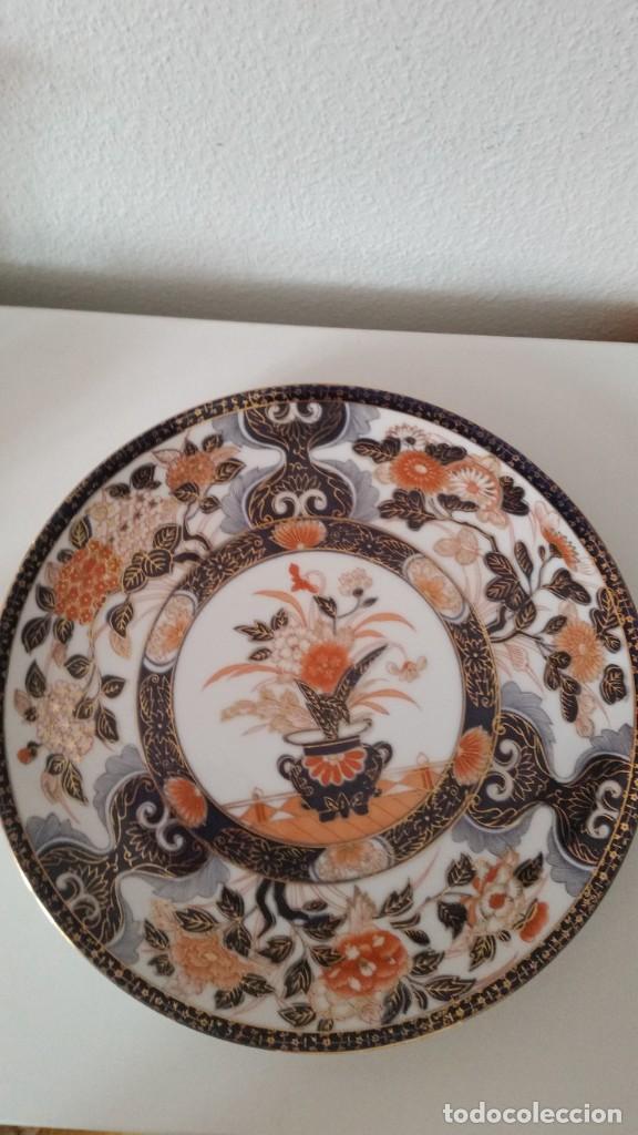 Antigüedades: PRECIOCO Y GRANDE PLATO DE PASTEL PORCELANA SA JI FINE CHINA JAPAN PORCELANA PINTADA A MANO - Foto 8 - 242152875
