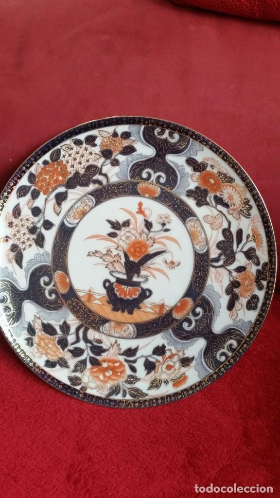 Antigüedades: PRECIOCO Y GRANDE PLATO DE PASTEL PORCELANA SA JI FINE CHINA JAPAN PORCELANA PINTADA A MANO - Foto 2 - 242152875