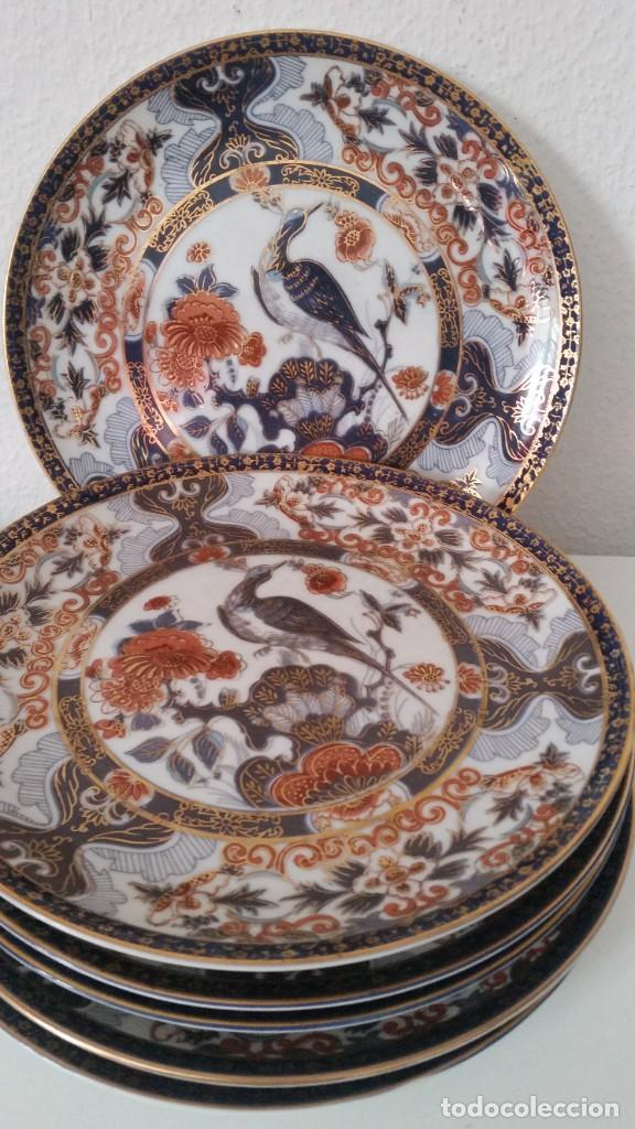 MAGNIFICOS 6 PLATOS DE POSTRE PORCELANA SA JI FINE CHINA JAPAN PORCELANA PINTADA A MANO (Antigüedades - Porcelana y Cerámica - Japón)