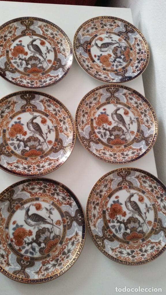 Antigüedades: MAGNIFICOS 6 PLATOS DE POSTRE PORCELANA SA JI FINE CHINA JAPAN PORCELANA PINTADA A MANO - Foto 3 - 242154930