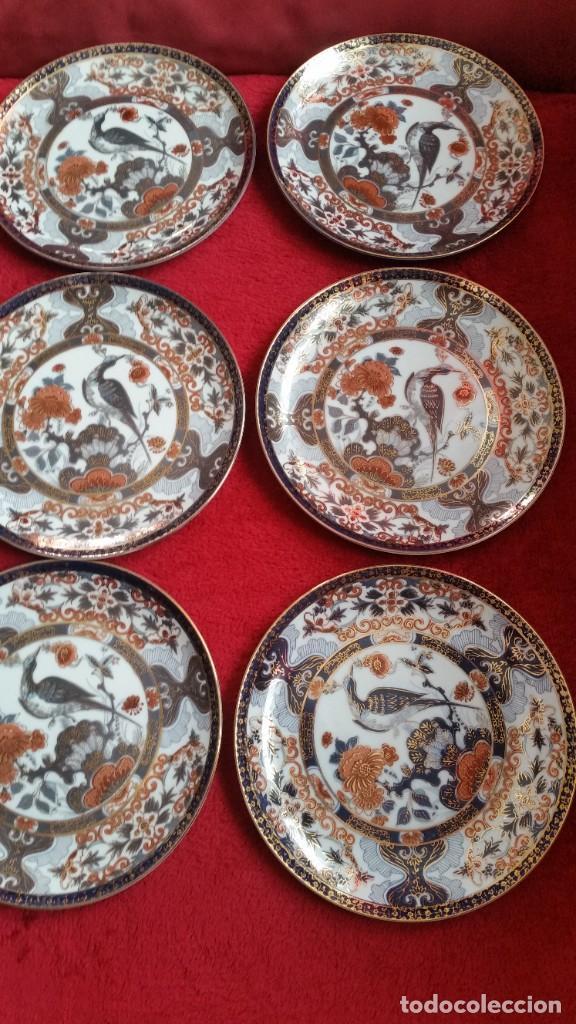 Antigüedades: MAGNIFICOS 6 PLATOS DE POSTRE PORCELANA SA JI FINE CHINA JAPAN PORCELANA PINTADA A MANO - Foto 4 - 242154930