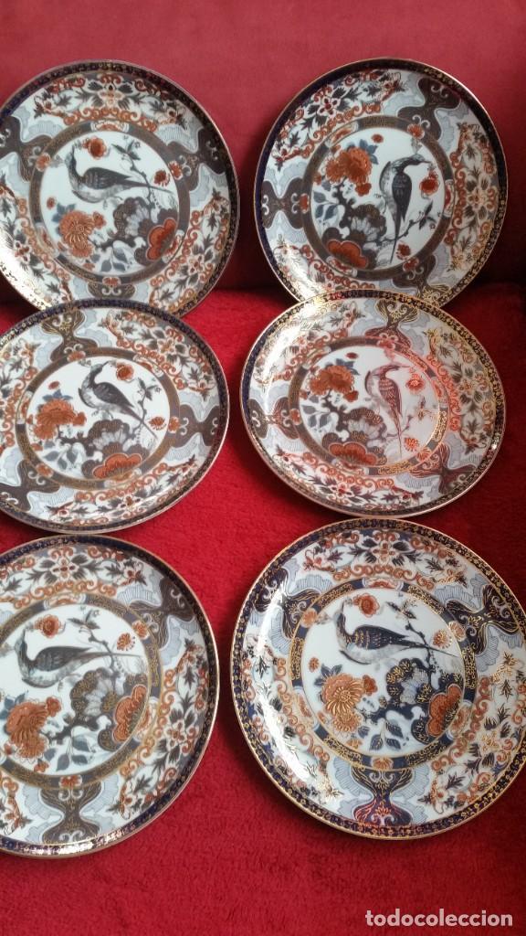 Antigüedades: MAGNIFICOS 6 PLATOS DE POSTRE PORCELANA SA JI FINE CHINA JAPAN PORCELANA PINTADA A MANO - Foto 6 - 242154930