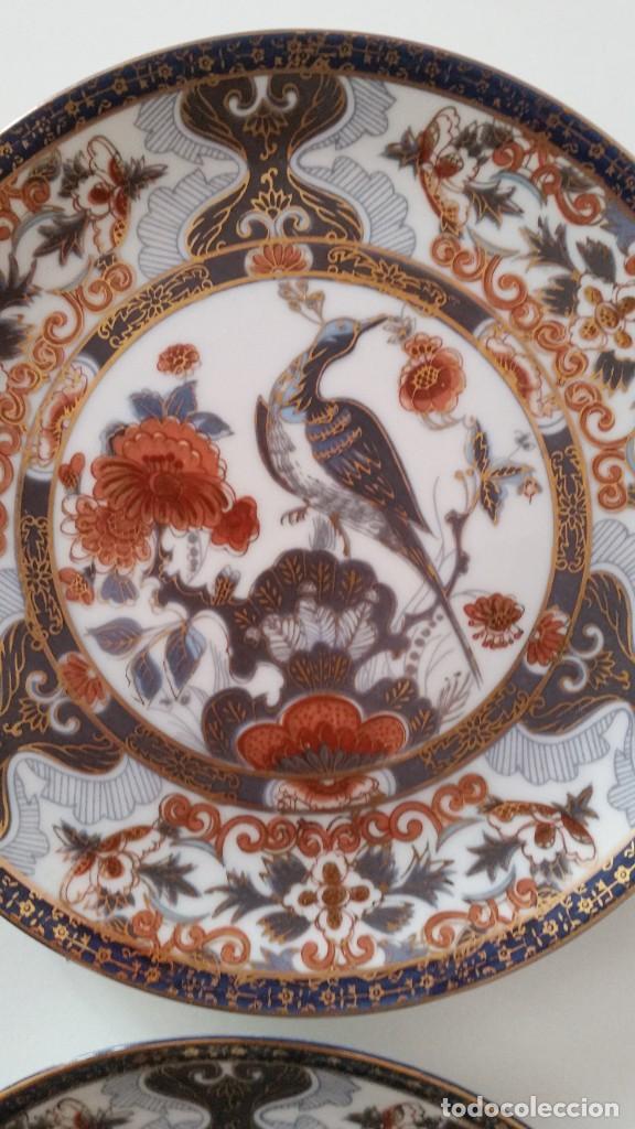 Antigüedades: MAGNIFICOS 6 PLATOS DE POSTRE PORCELANA SA JI FINE CHINA JAPAN PORCELANA PINTADA A MANO - Foto 7 - 242154930