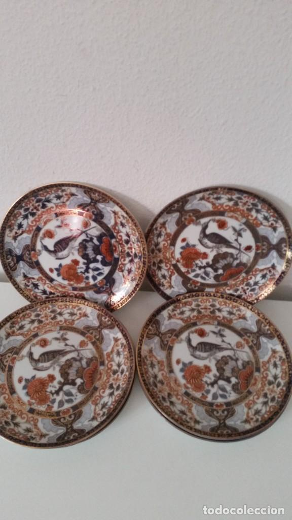 Antigüedades: MAGNIFICOS 6 PLATOS DE POSTRE PORCELANA SA JI FINE CHINA JAPAN PORCELANA PINTADA A MANO - Foto 8 - 242154930