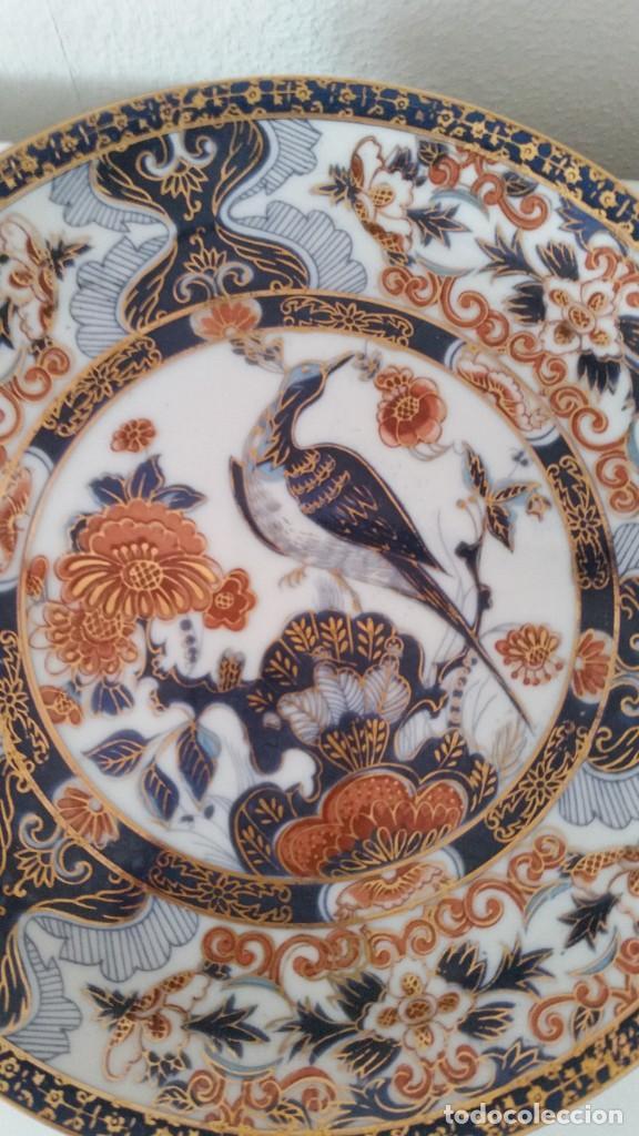 Antigüedades: MAGNIFICOS 6 PLATOS DE POSTRE PORCELANA SA JI FINE CHINA JAPAN PORCELANA PINTADA A MANO - Foto 11 - 242154930