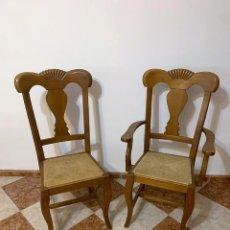 Antigüedades: CONJUNTO DE 6 SILLAS MAS DOS SILLONES CON ASIENTO DE ENEA. Lote 242232700