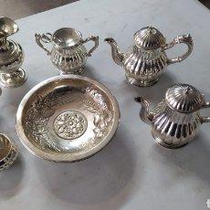 Antiquités: JUEGO DE TE DE PLATA DE LEY.PESO,1388GRAMOS. Lote 242293585