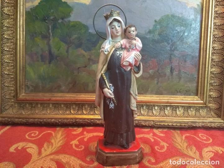 FIGURA OLOT VIRGEN DE CARMEN MUY ANTIGUA ALTURA 19/20 CMS (Antigüedades - Religiosas - Artículos Religiosos para Liturgias Antiguas)