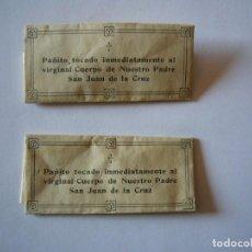 Antigüedades: 2 PAÑITOS TOCADOS POR SAN JUAN DE LA CRUZ. Lote 242376300