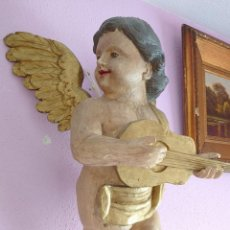 Antigüedades: ANGEL MADERA TALLADA POLICROMADA SIGLO XVIII GRANDE. Lote 242395450
