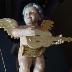 Antigüedades: ANGEL CON LAUD MADERA TALLADA SIGLO XVIII 62CM. Lote 242398325