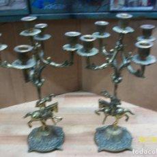 Antigüedades: PAREJA DE CANDELABROS DE BRONCE- 5 VELAS. Lote 242408655