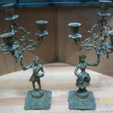 Oggetti Antichi: PAREJA DE CANDELABROS DE BRONCE- 4 VELAS. Lote 242408885