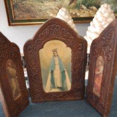 Antigüedades: TRÍPTICO CUERO RELIGIOSO. Lote 242463770