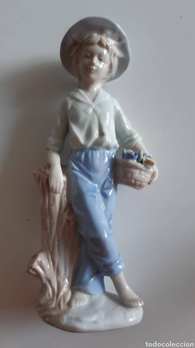 Antigüedades: Figura porcelana Niño Valencia - Valenciana. Posiblemente Algora - Foto 6 - 242817260