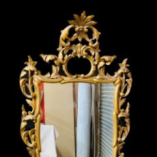 Antigüedades: ANTIGUO ESPEJO, CORNUCOPIA DE MADERA DORADO AL ORO FINO. XVIII. BARROCO. 102X60. Lote 242828990