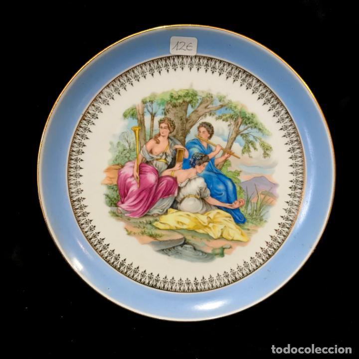 PLATO PORCELANA ESCENA GALANTE / PASTORIL. 20 CM (Antigüedades - Porcelanas y Cerámicas - Santa Clara)