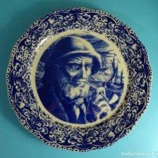 Antigüedades: PLATO DECORADO EN AZUL. VIEJO MARINO. BOCH FRERES. LA LOUVIERE. BÉLGICA. DIÁMETRO 34,5 CM. Lote 242866250