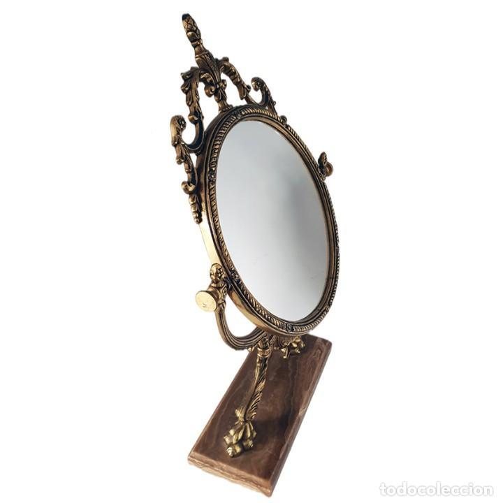 Antigüedades: Espejo basculante de bronce de tocador con base de mármol. - Foto 2 - 242871075