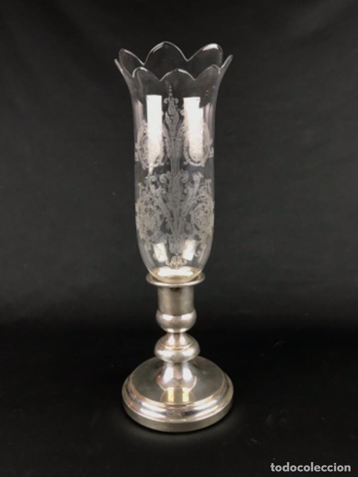 MAGNIFICO CANDELABRO EN CRISTAL DE BACCARAT PIE CHRISTOFLE PLATEADO FRANCIA CIRCA 1920 (Antigüedades - Cristal y Vidrio - Baccarat )