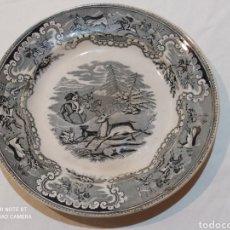 Antigüedades: BONITO PLATO DE CARTAGENA LA CAZA DEL CIERVO SIGLO XIX. Lote 242904855