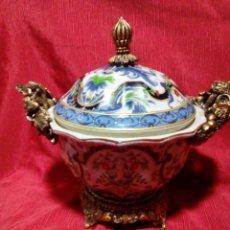 Antigüedades: PRECIOSO CENTRO DE MESA ,TARRO DE CERAMICA CHINA. Lote 242922045