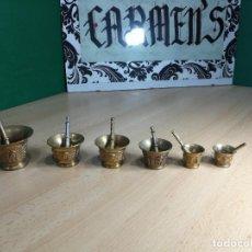 Antigüedades: LOTE DE 6 ALMIREZ ANTIGUOS EN METAL BRONCE, MUY BELLOS Y CURIOSOS. Lote 242924625