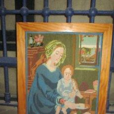 Antigüedades: ANTIGUO TAPIZ BORDADO RELIGIOSO VIRGEN CON NIÑO JESUS ARTESANAL. Lote 243121980