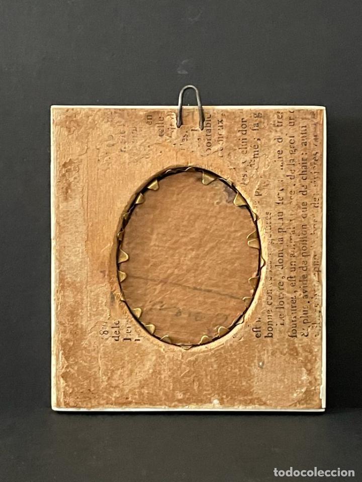 Antigüedades: MINIATURA DE MARFIL CON MARCO DE MARFIL - Foto 4 - 227038236