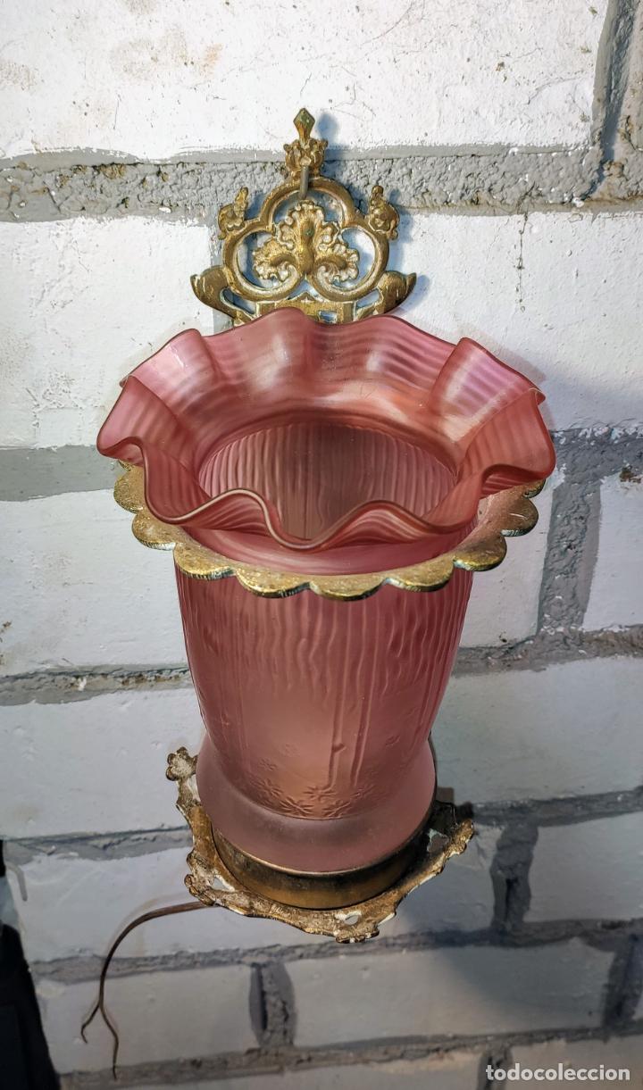 Antigüedades: INTERESANTE APLIQUE.LUZ, LAMPARA, MODERNISTA LINTERNA NEOGOTICA - Foto 5 - 243223245