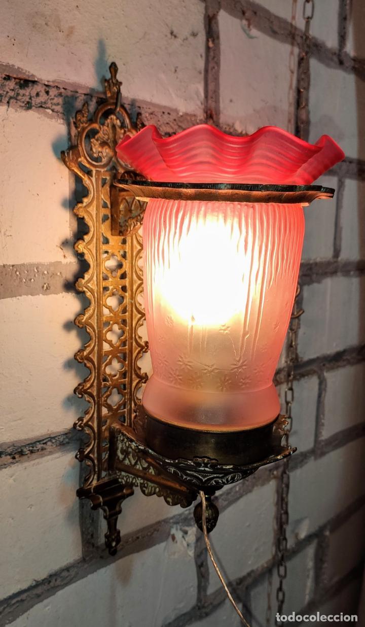 INTERESANTE APLIQUE.LUZ, LAMPARA, MODERNISTA LINTERNA NEOGOTICA (Antigüedades - Iluminación - Apliques Antiguos)