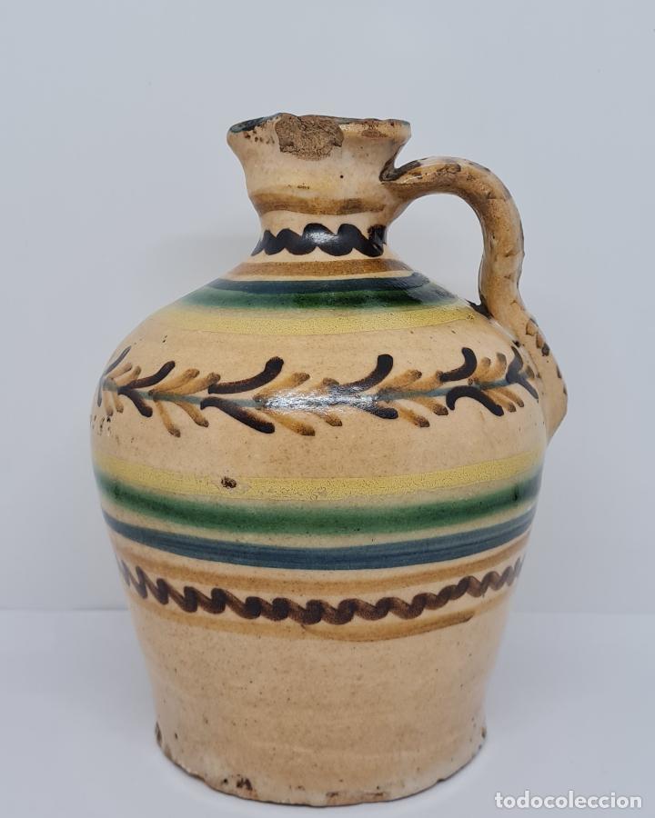 Antigüedades: MAGNIFICA ALCUZA,ACEITERA EN CERAMICA DE PUENTE DEL ARZOBISPO,(TOLEDO),S. XIX - Foto 2 - 243298555