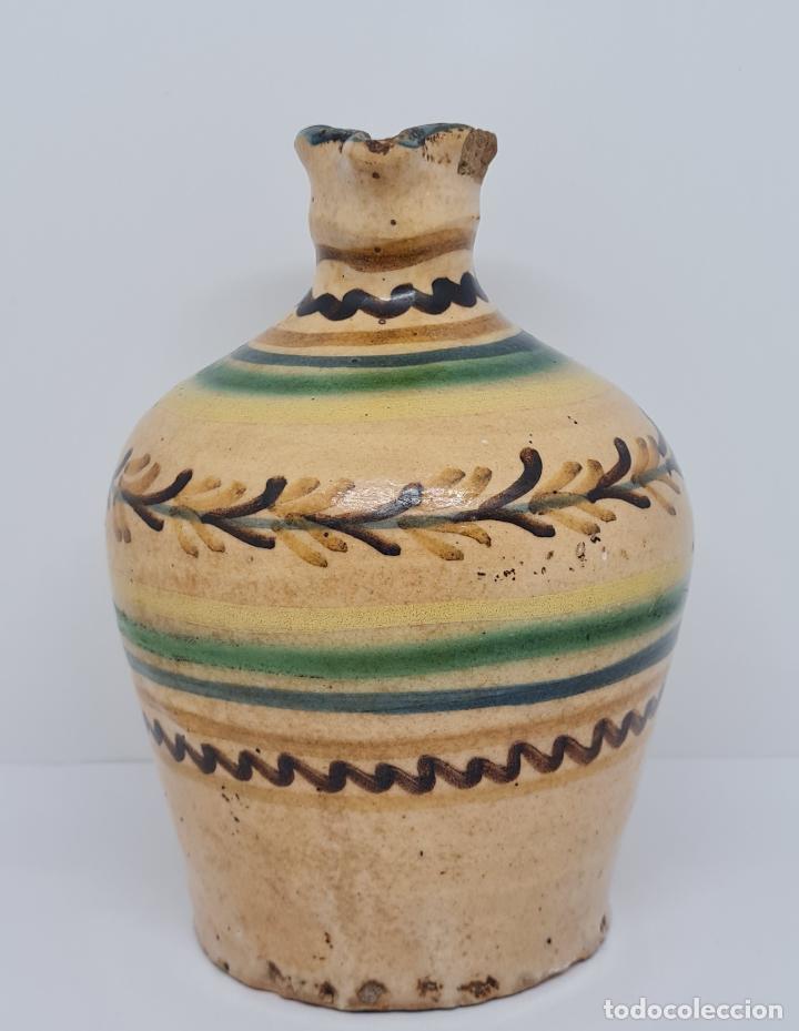 Antigüedades: MAGNIFICA ALCUZA,ACEITERA EN CERAMICA DE PUENTE DEL ARZOBISPO,(TOLEDO),S. XIX - Foto 3 - 243298555