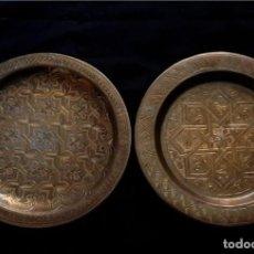 Antigüedades: PLATOS DE COBRE- BELLOS GRABADOS. Lote 243326125