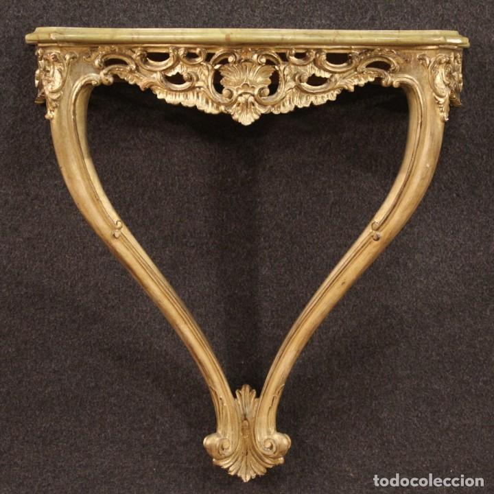 Antigüedades: Pequeña consola francesa lacada y dorada - Foto 2 - 243331645